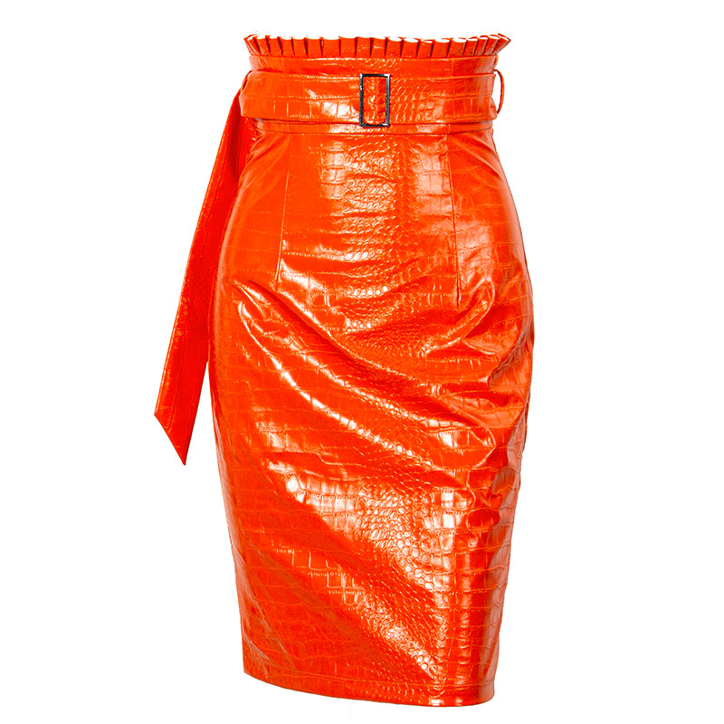 High-waist belted midi pencil skirt in orange