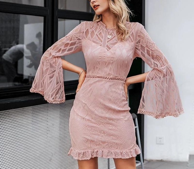 Bat sleeves lace mini dress