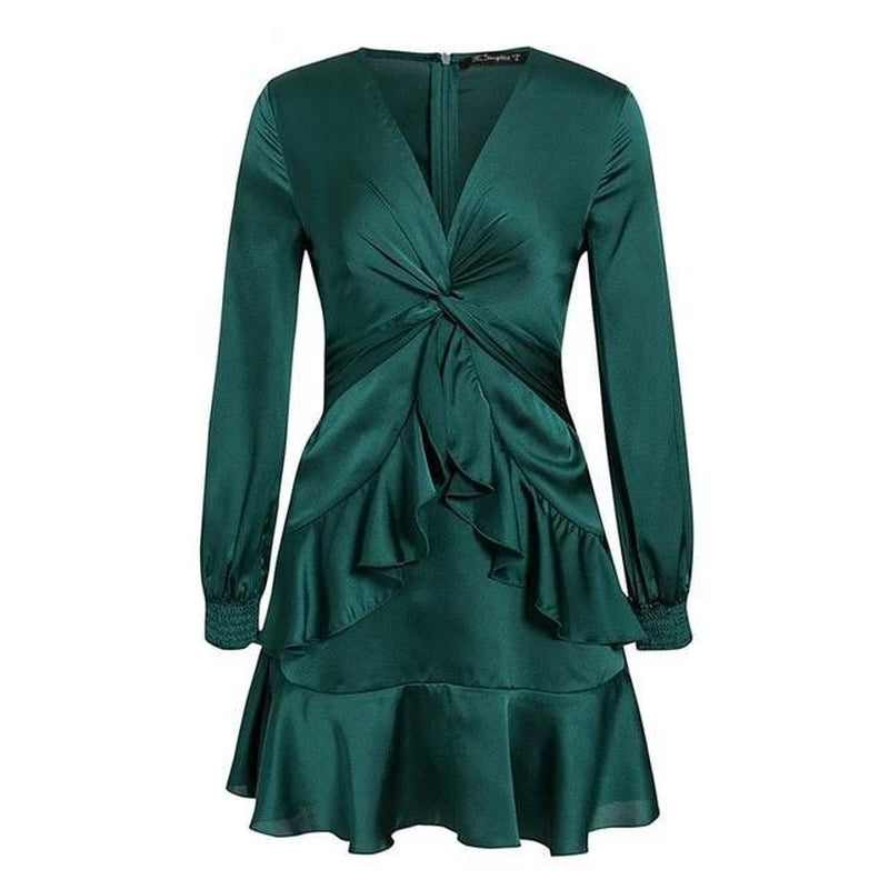Lantern sleeve ruffled teal mini dress
