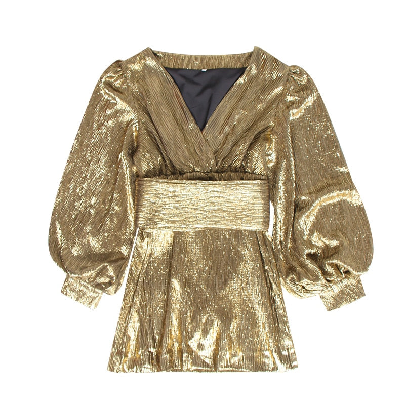 Golden Lady V-Neck lantern sleeve mini dress