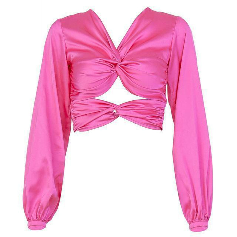 Back-crossed crop top in fuchsia