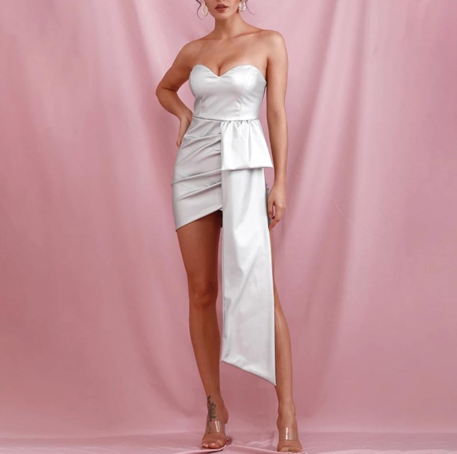 SILVIA pearl white bandeau dress