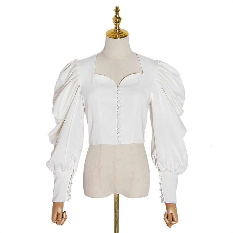 Sweetheart puff sleeve short blouse in white