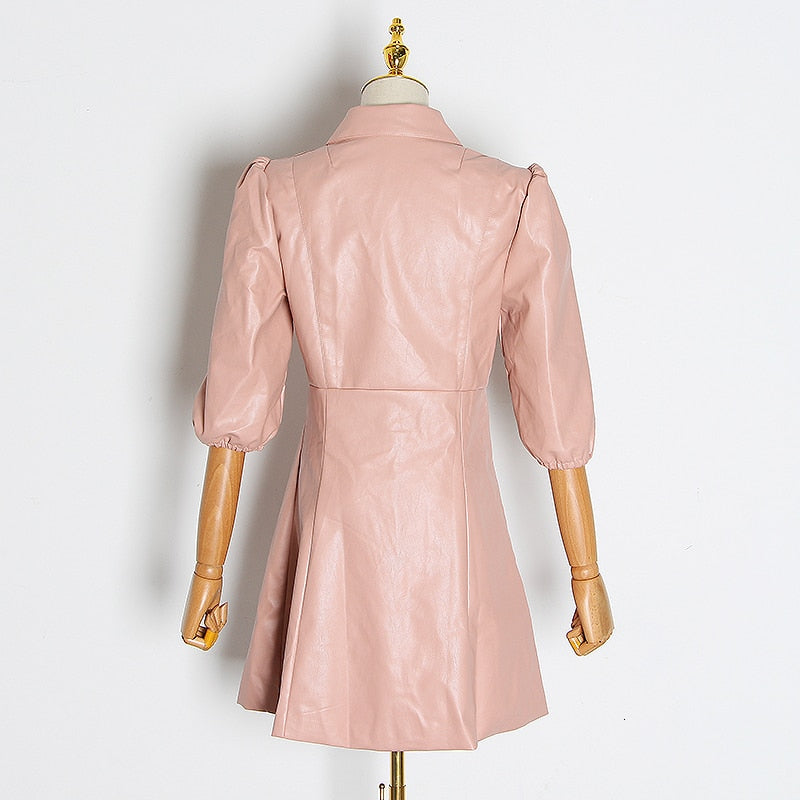 Faux Leather puff sleeve mini dress in pink