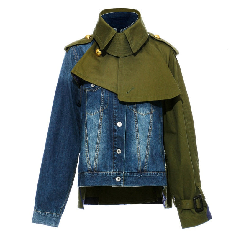Patchwork lapel denim jacket in army green