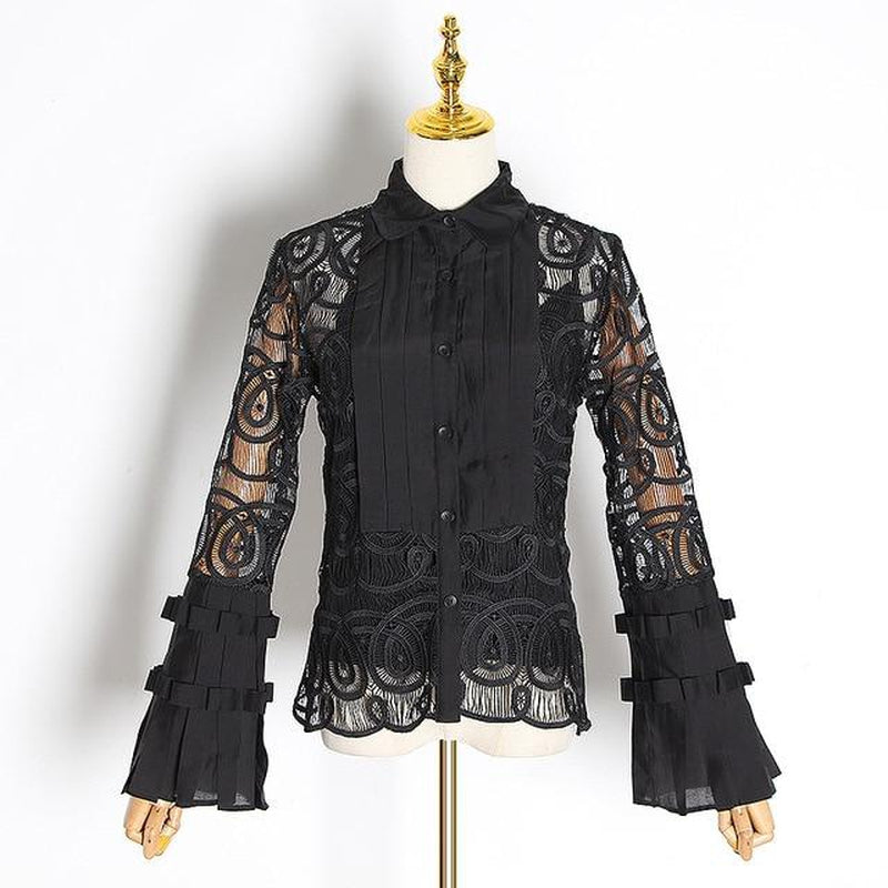 Flare sleeve lace blouse