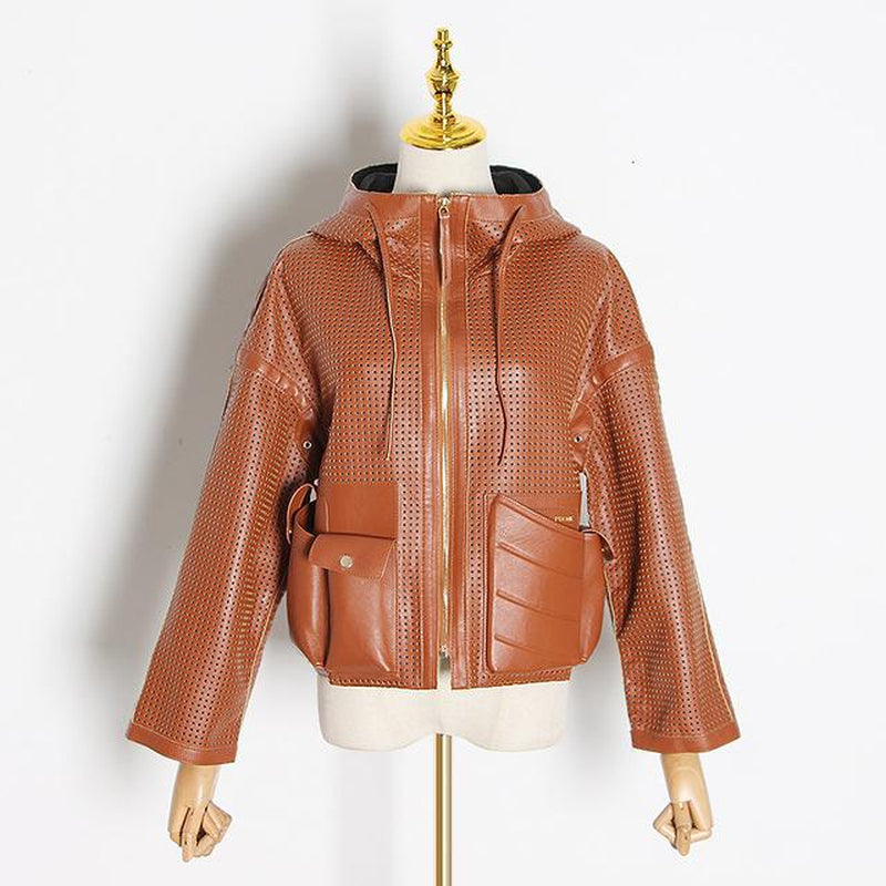 Hollow-out hooded faux leather jacket