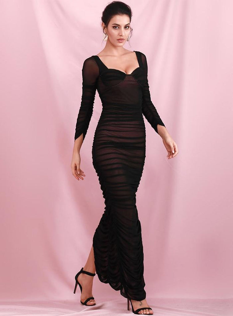 MONICA ruched slit gown