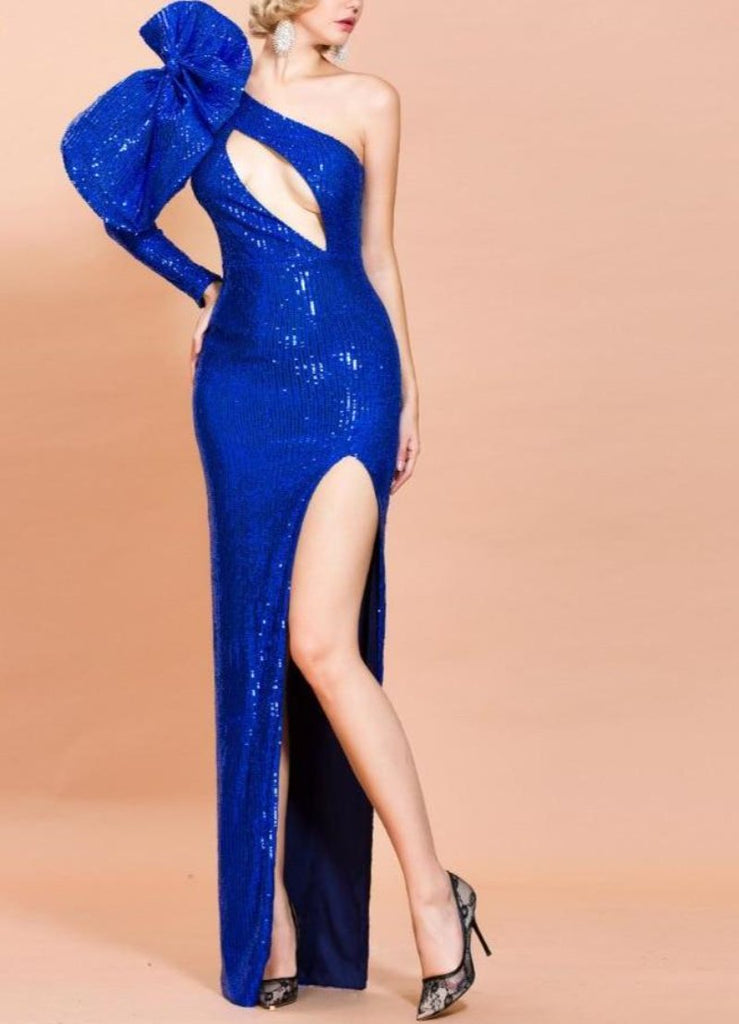 MARINA sequinned slit gown