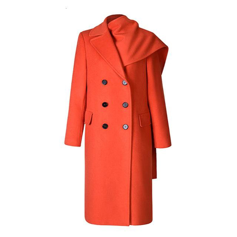 Asymmetric lapel coat