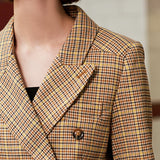 Double-breasted plaid long blazer