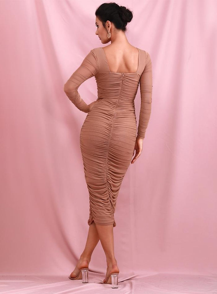 TOLEDO ruched midi dress in beige