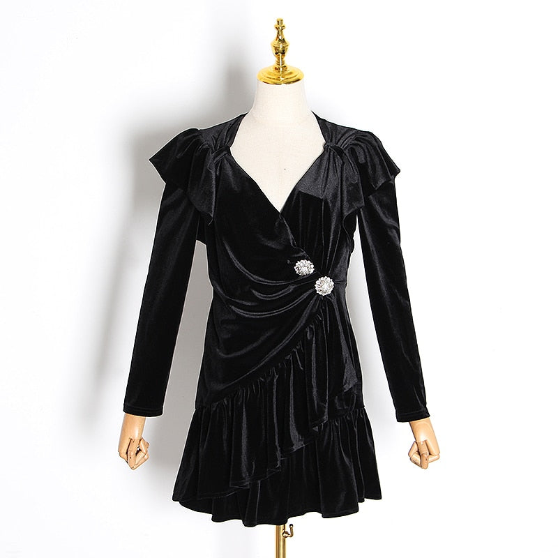 POLETTE velvet puff sleeve mini dress