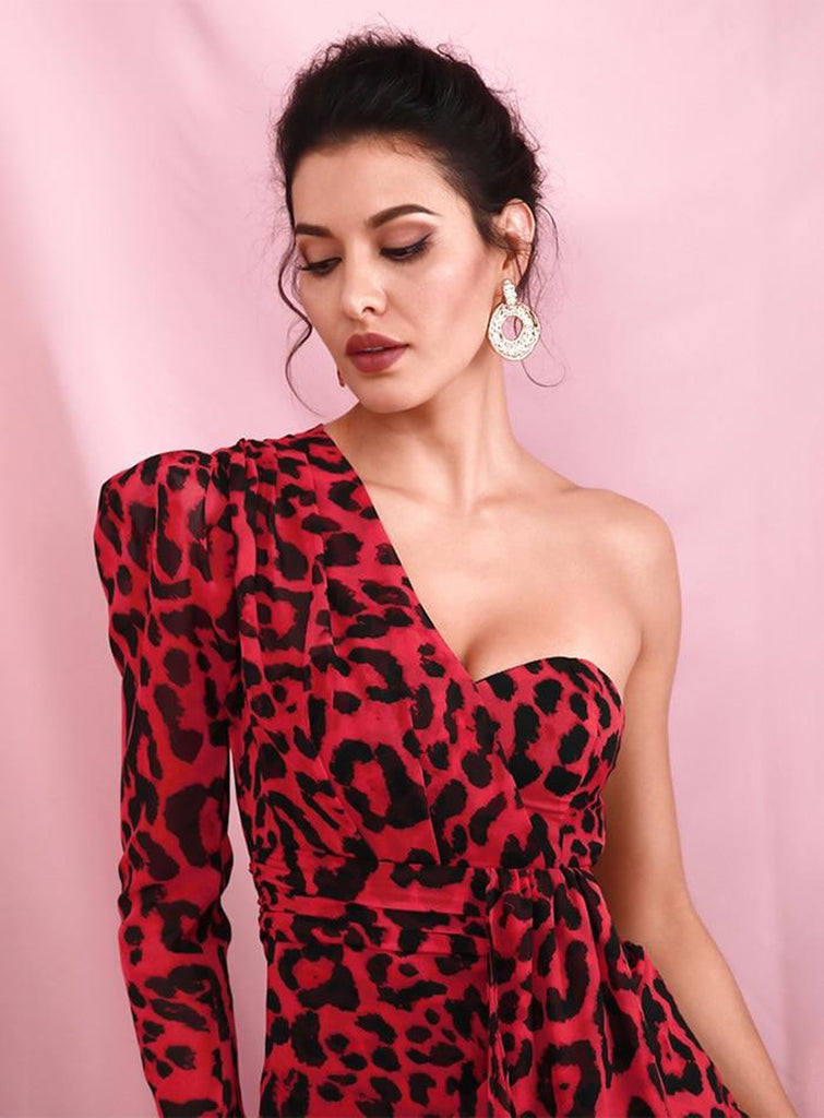 RED LEOPARD one-sleeve mini dress