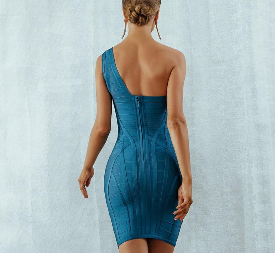 TILDA one-shoulder bandage dress in dark blue