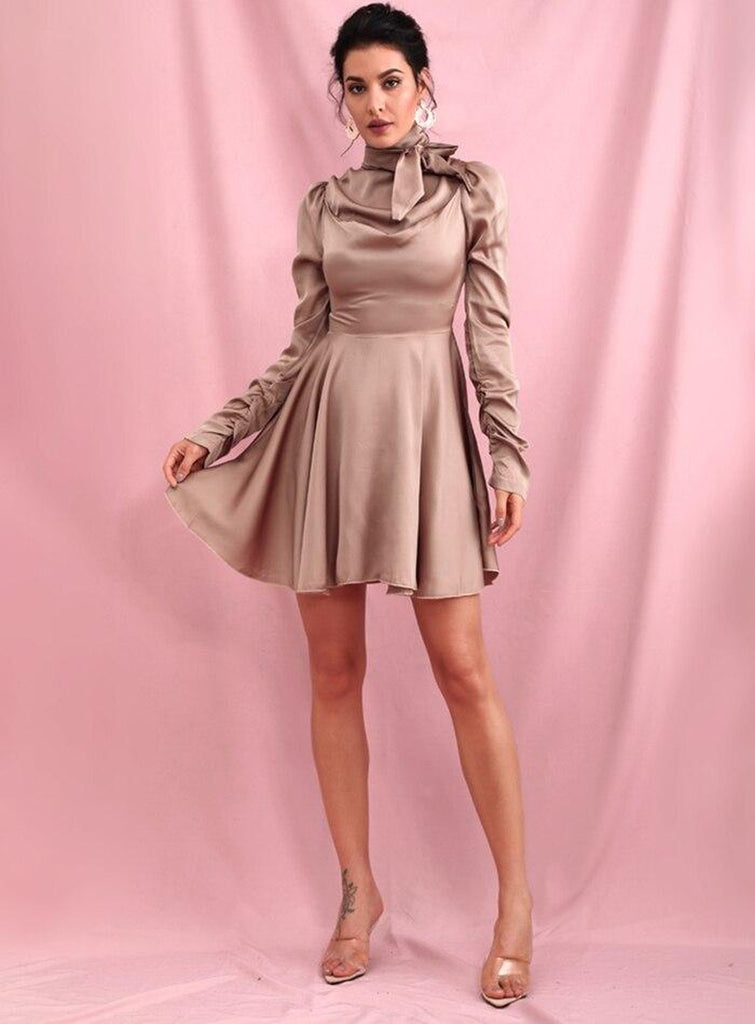ISOLDE pleated mini dress in metallic nude