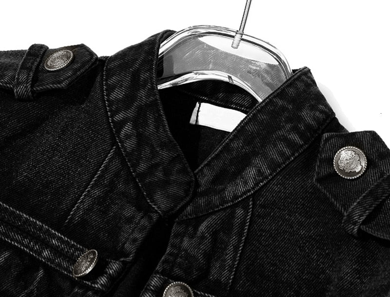 Fashion military denim short jacket