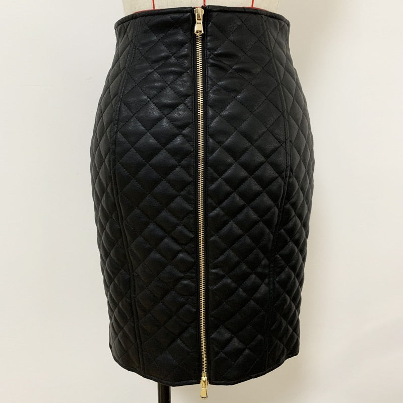 Faux leather grid pencil skirt