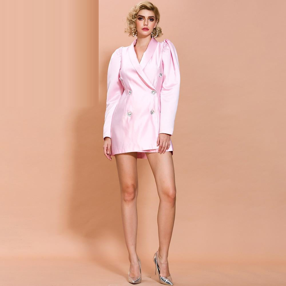 CLAUDIE double-breasted dress in baby pink