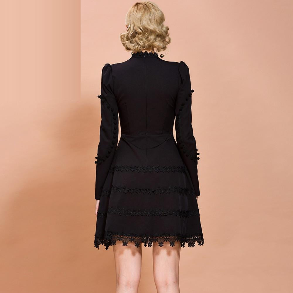 MARCIA hollow-out black mini dress