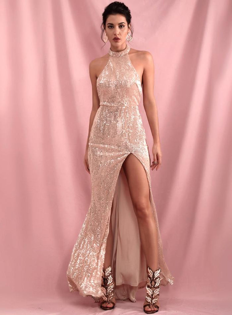 CHAMPAGNE halter sequinned slit gown