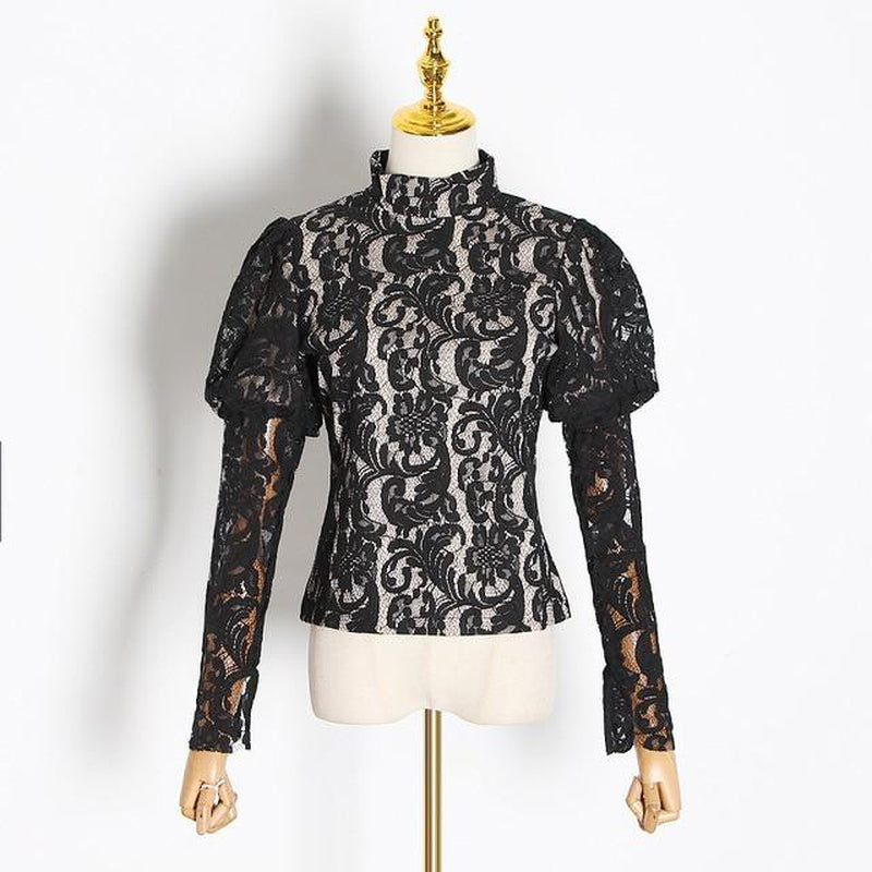Turtleneck lace blouse