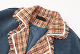 Patchwork plaid plush jacket