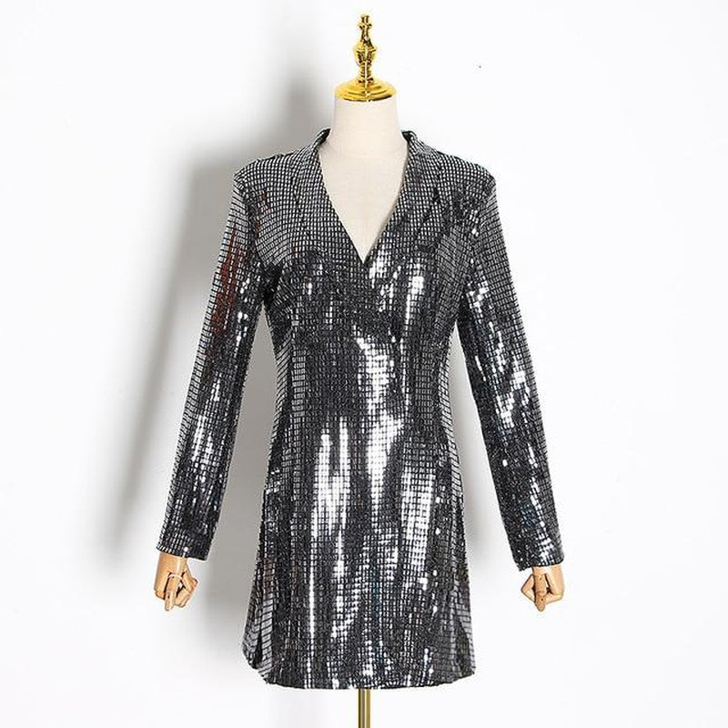 Sequinned silver blazer mini dress