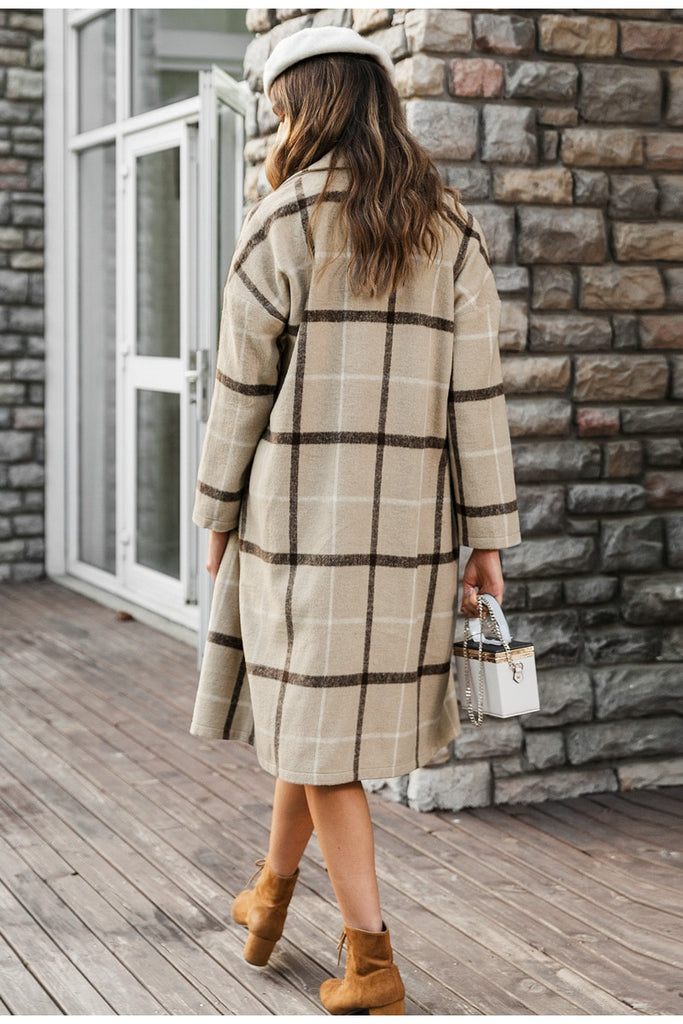 V-Neck plaid coat