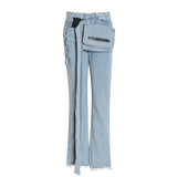 Denim pants with sashes and messenger bag