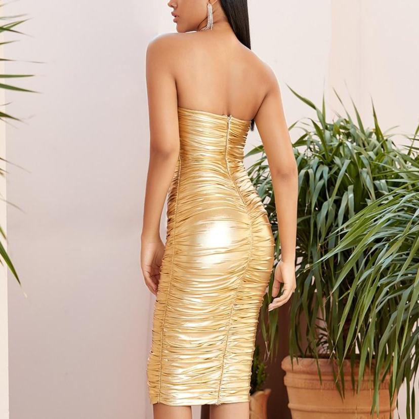 Strapless ruched golden dress