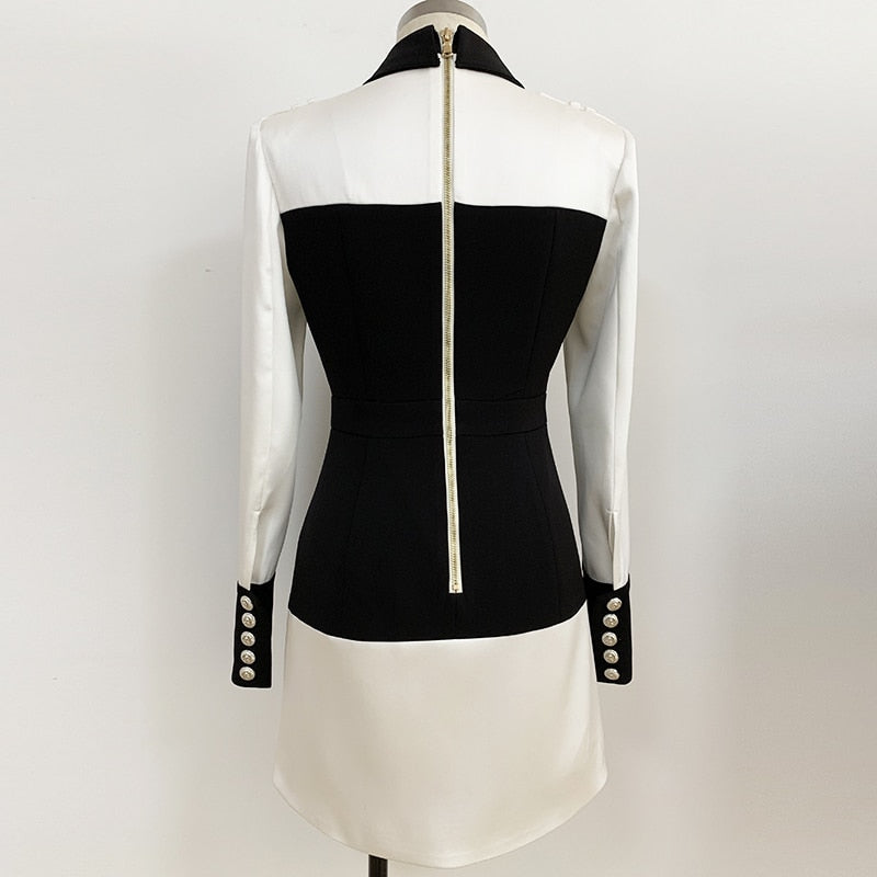 DAYTONA Long Sleeve Black&White Dress