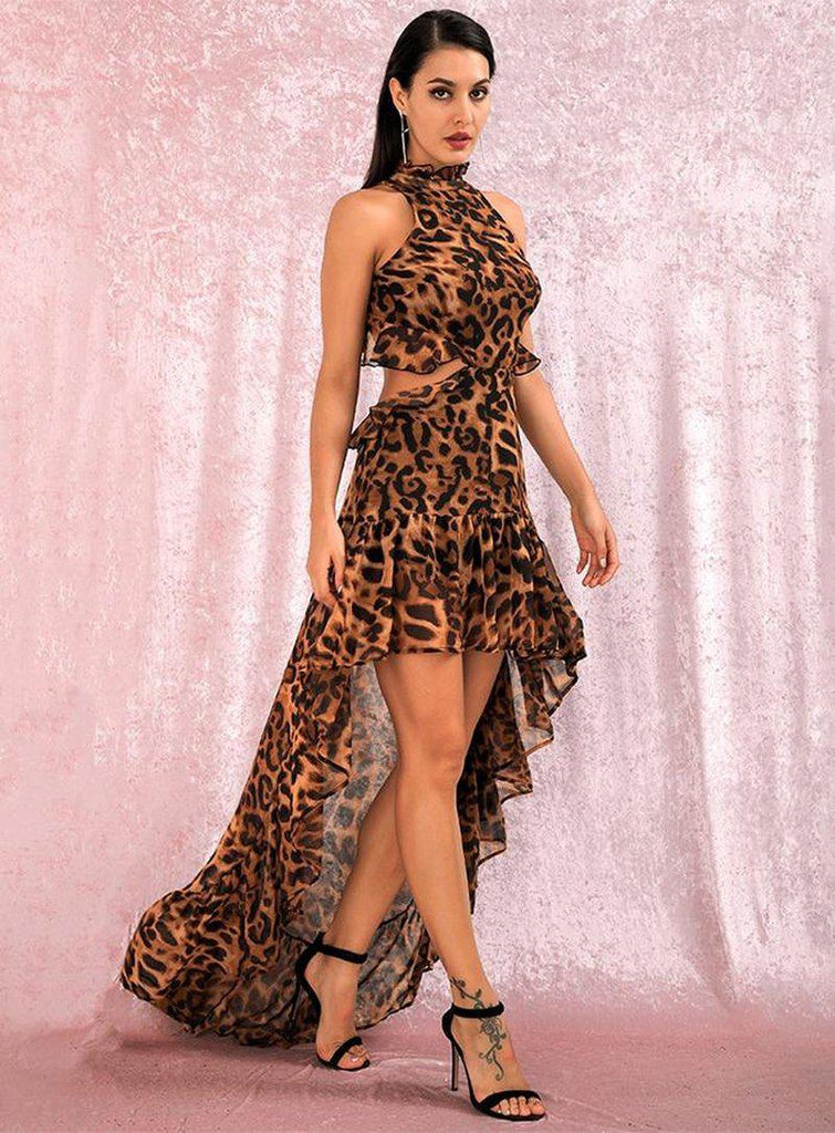 Hollow-out chiffon halter leopard gown