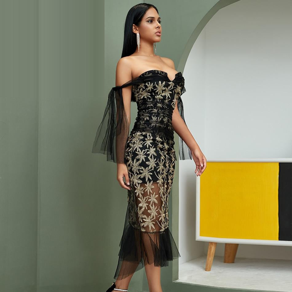 MEERA mesh embroidered gown