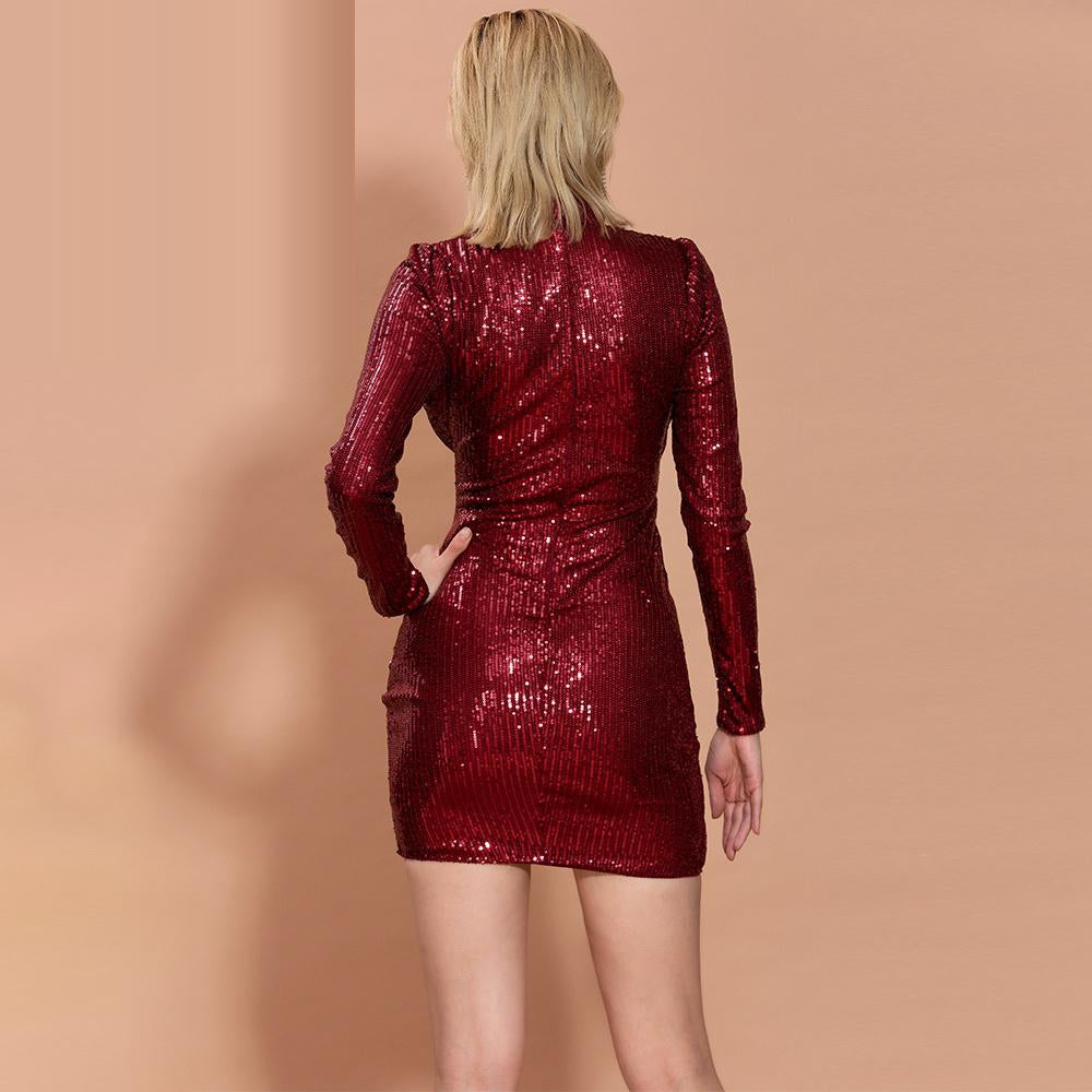 Wine red ruched turtleneck mini dress