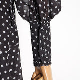 Polka Dot lantern-sleeve chiffon dress