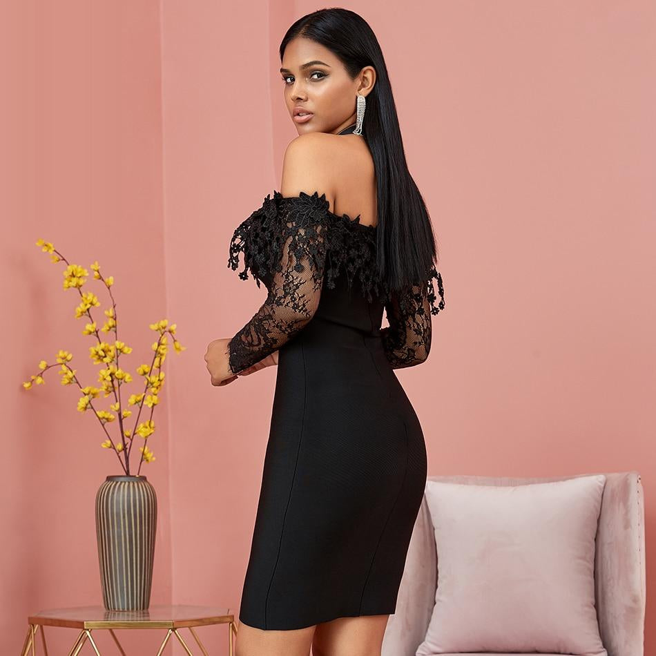 SANTANA cold-shoulder mesh mini dress