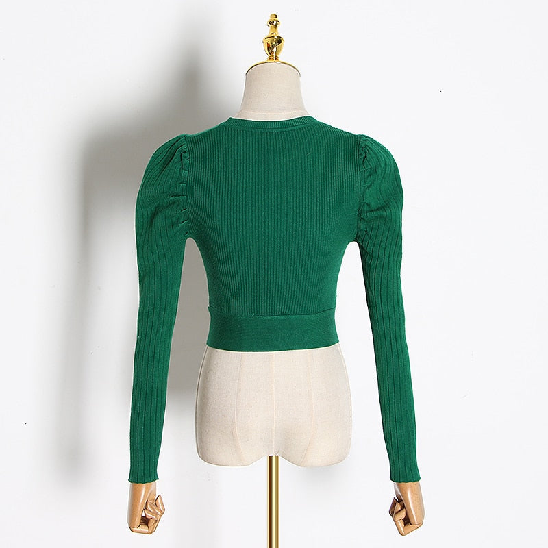Knitted long-sleeve crop top