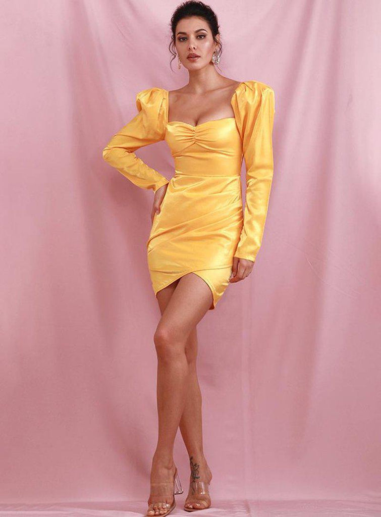MALIA puff-sleeve yellow mini dress