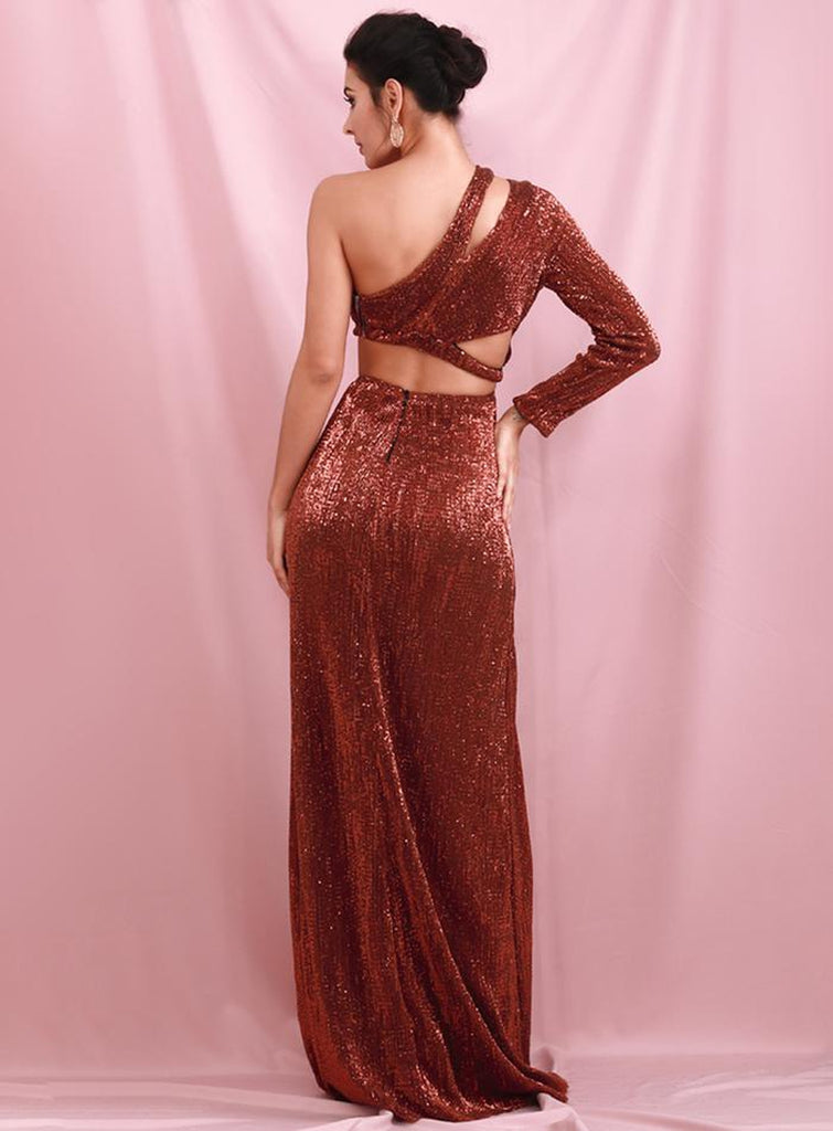 Lurex terracotta slit gown