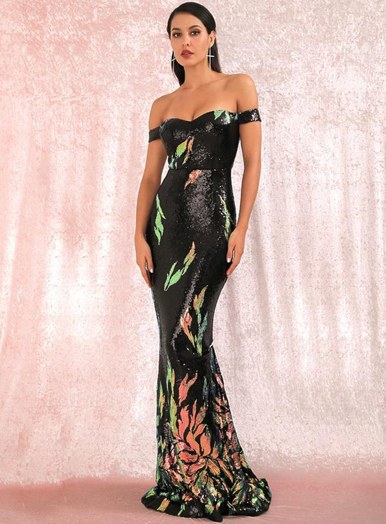 GALATHEA off-shoulder sequinned gown