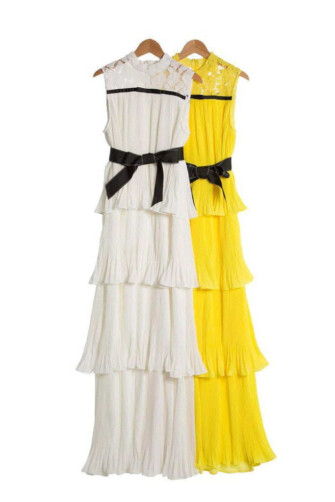 ROBIN cascade ruffled pleated gown in white