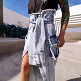 Asymmetric denim slit skirt