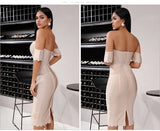 LEIGH Apricot Off Shoulder Sheath Dress