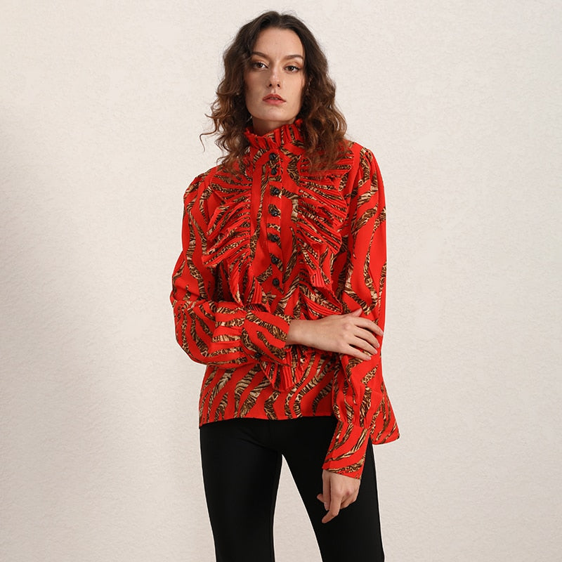 Stand-collar ruffled blouse in red