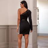LONGINIA one-sleeve party dress