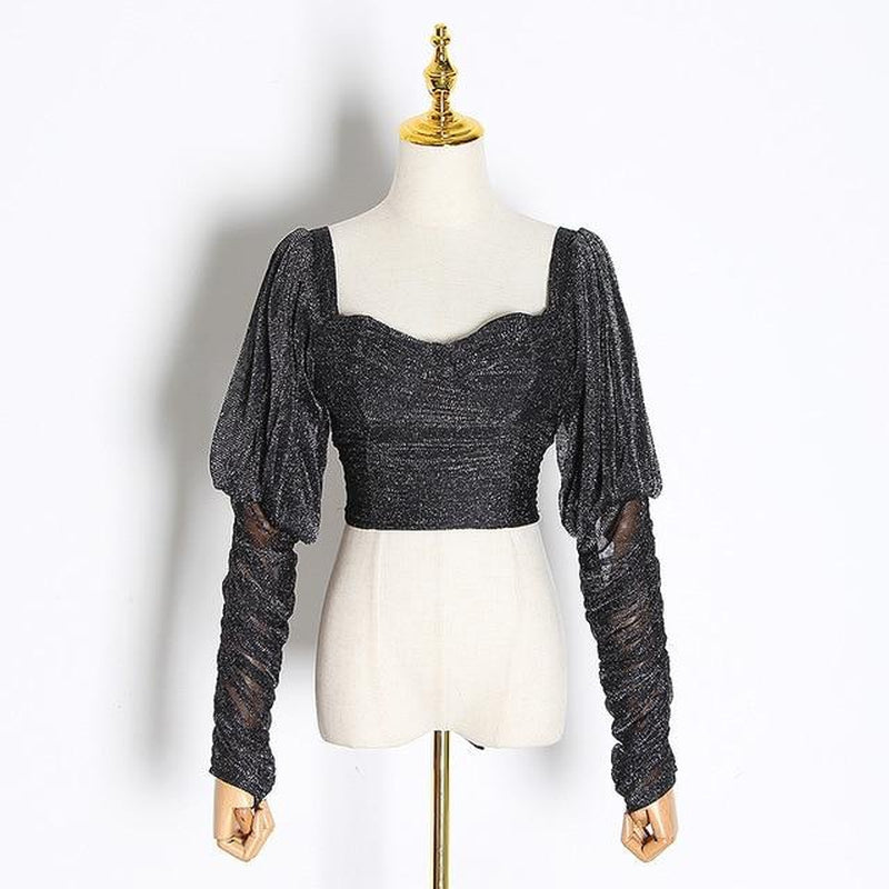 Lantern-sleeve lurex crop top