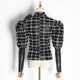 Puff-sleeve bowknot plaid blouse