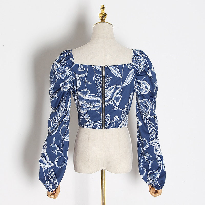 Lantern-sleeve floral blue top