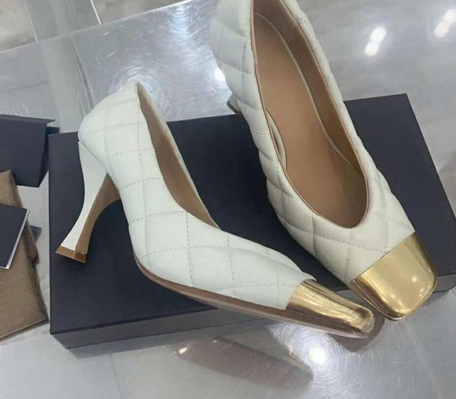Quilt faux leather heels